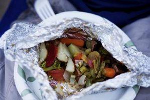 Armazenar Frutas e vegetais em folha de alumínio